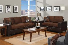 Zuko F7591 Chocolate Microfiber and Faux leather Sofa and Loveseat
