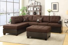 Alturas F7602 Chocolate Microfiber Sectional with Ottoman