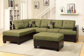 Alameda F7604 Reversible Peridot Microfiber Sectional and Ottoman