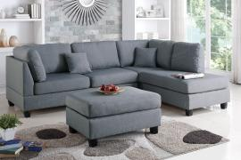 Garbrandt F7606 Grey Reversible Sectional With Ottoman