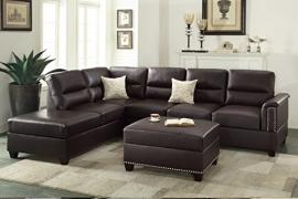 Fowler F7609 Espresso Bonded Leather Sectional and Ottoman