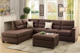 Hesperia F7613 Chocolate Polyfiber Sectional and Ottoman