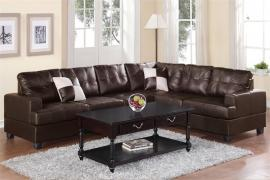 Lebec F7629 Espresso Bonded Leather Sectional