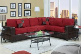 Lisben F7638 Red Microfiber Sectional Checkered Accent Pillows
