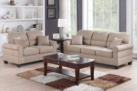 Mickey F7879 Sand Fabric Sofa and Loveseat