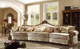 Dubai HD 1608 Carved Wood Trim Large Sectional Sofa