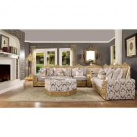 Maritanna HD 459 Wood Trim Floral Pattern Sectional Sofa