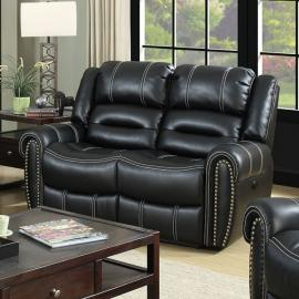 Black Leatherette with Nailhead Trim Reclining Loveseat