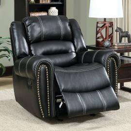 Black Leatherette with Nailhead Trim Power Recliner