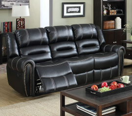 Black Leatherette with Nailhead Trim Reclining Sofa