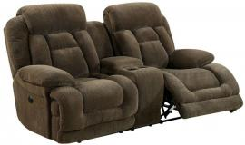 Brown Fabric Power Reclining Loveseat