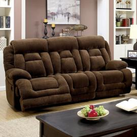 Brown Fabric Power Reclining Sofa
