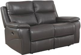 Gray Top Grain Leather Reclining Loveseat