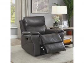 Gray Top Grain Leather Recliner