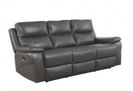 Gray Top Grain Leather Reclining Sofa
