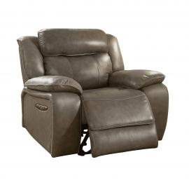 Gray Top Grain Leather Power Recliner