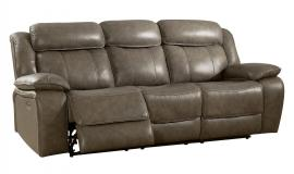 Gray Top Grain Leather Power Reclining Sofa