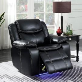 Black Leatherette Power Headrest & Power Recliner