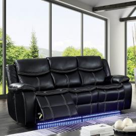 Black Leatherette Power Headrest & Power Reclining Sofa