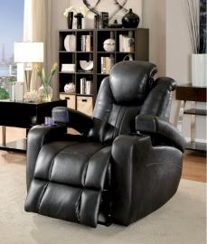 Dark Grey Leatherette Power Headrest & Power Recliner