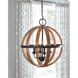 L000478 Emilano Adelphia by Ashley Wood Pendant Light in Black/Natural