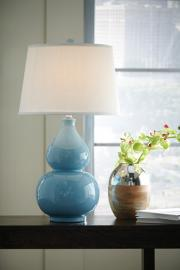 L100044 Saffia by Ashley Ceramic Table Lamp In Light Blue