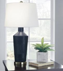 L100604 Leroi by Ashley Ceramic Table Set of 2 Lamp In Blue