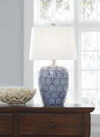 L100624 Malini by Ashley Ceramic Table Lamp In White/Blue