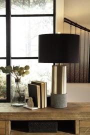L243164 Jacek by Ashley Metal Table Lamp Set of 2 in Gray/Brass Finish