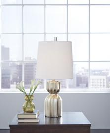 L243194 Makalia by Ashley Poly Table Lamp in Champagne