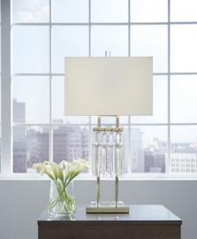 L428114 Megdalia By Ashley Metal Table Lamp in Clear/Brass Finish
