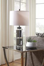 L428124 Makram By Ashley Metal Table Lamp Set of 2 in Clear/Chrome Finish