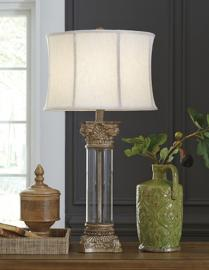 L430404 Jaylen By Ashley Glass Table Lamp In Clear/Brown