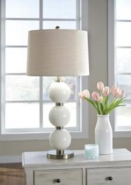 L430474 Shodan By Ashley Glass Table Lamp In White/Brass Finish