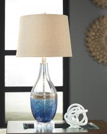 L430514 Johanna By Ashley Glass Table Lamp Set of 2 In Blue/Clear