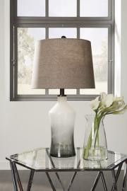 L430534 Nollie By Ashley Glass Table Lamp Set of 2 In Gray