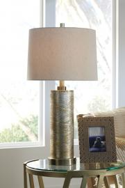 L430584 Farrar By Ashley Glass Table Lamp In Gold Finish