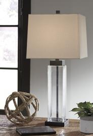 L431374 Alvaro By Ashley Glass Table Lamp Set of 2 In Clear/Bronze Finish