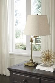 L734184 Arwel By Ashley Glass Table Lamp In Antique Brass Finish