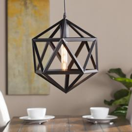 LT1814 Lecava By Southern Enterprises Geometric Cage Pendant Lamp