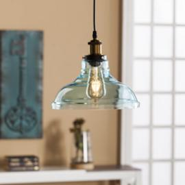 LT1835 Gracelyn By Southern Enterprises Colored Glass Bell Pendant Lamp - Soft Aqua
