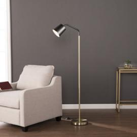 LT1911 Belton By Southern Enterprises Two-Tone Metal Floor Lamp - Matte Black w/ Brass