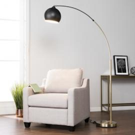 LT1914 Raleigh By Southern Enterprises Arc Floor Lamp - Midcentury Modern Style - Black
