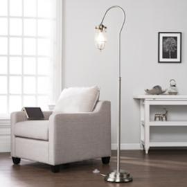 LT5121 Terrance By Southern Enterprises Floor Lamp - Contemporary Style - Brushed Nickel