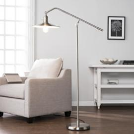LT5193 Victor By Southern Enterprises Floor Lamp   Contemporary Style    Brushed Nickel