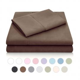 Brushed Microfiber - Split Cal King Chocolate Sheets