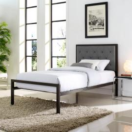 Mia 5178 Brown Metal Twin Bed Frame with Gray Tufted Headboard