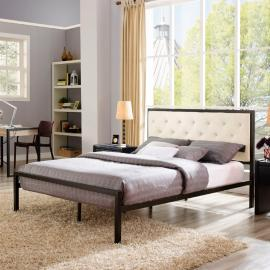 Mia 5180 Brown Metal Full Bed Frame with Beige Tufted Headboard