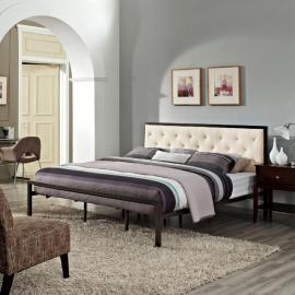 Mia 5184 Brown Metal King Bed Frame with Beige Tufted Headboard