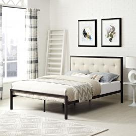Lottie 5447 King Platform Brown Metal Bed Frame with Beige Fabric Headboard